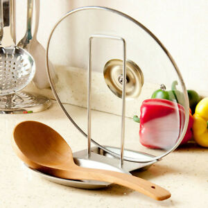 High Quality Stainless Steel Lid Spoon Holder Kitchenware Stand Organizer...