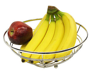 Chrome Plated Steel Flat Wire Fruit Bowl