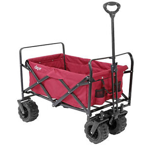 Collapsible Foldable Outdoor Utility Wagon Cart with All Terrain Wheels, Red