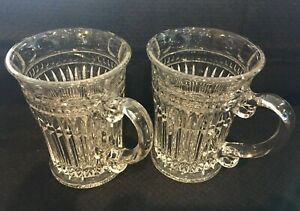 4 Beautiful Heavy 8 Ounce Sparkling Cut Glass Coffee Mugs For Use Or Display