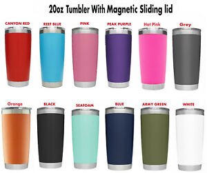 20 oz Stainless Steel Tumbler Insulated Coffee Cup Travel Mug with Magnet slider