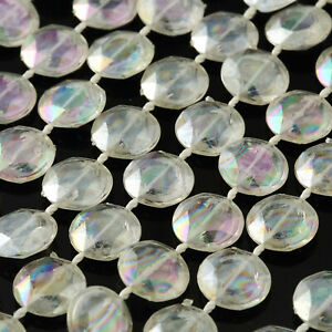 10 yards Iridescent Crystal Like Garland with Beads Wedding Tabletop Decorations