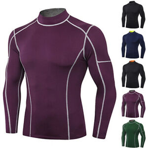 Quick Dry Long Sleeve Mock Neck Compression Base Layer Workout Running T shirt $14.02
