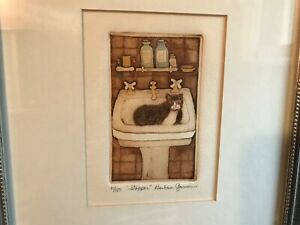 Listed  Barbara Garrison Hand Signed Original Etching 11100 the stopper cat  $65.00