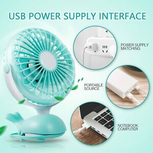 Clip Fan Battery Operated Portable Stroller Fans Cute Whale Design Rechargeable