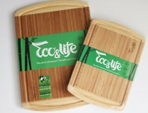 Set of 2 ECO Bamboo Cutting Small+Large Board Chopping Groove Sz18x12,5