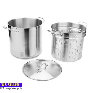 12 Qt or 20 Qt Stainless Steel Aluminum-Clad Pasta Cooker Combination Stock Pot