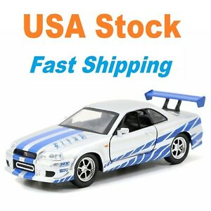 Fast And Furious 2002 Brian's Nissan Skyline GTR R34, Diecast Toy Car, 5.5,1:32