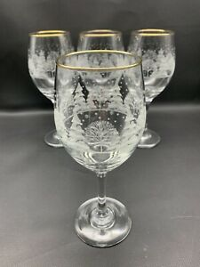 4 VTG Arby#x27;s Christmas Wine Goblets Winter White Frosted Gold Rim Libbey Glasses