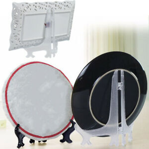 5Pcs Plastic Photo Plate Display Stand Picture Frame Easel Holder Decor Lots New