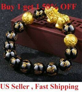 Feng Shui Black Obsidian Beads Bracelet Attract Wealth & Good Luck Bangle