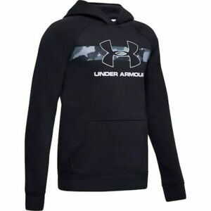 Boys 8 16 Under Armour Rival Fleece Pull Over Hoodie Color Black White Medium $33.99