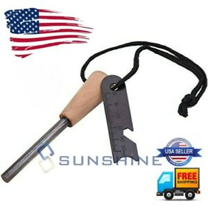 Fire Starter Flint & Steel Striker Bushcraft, Waterproof Emergency Firesteel