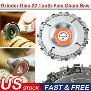 Steel Chain Saw Blade for Wood Carving 4 in. 22 Teeth Angle Grinder Disc Arbor