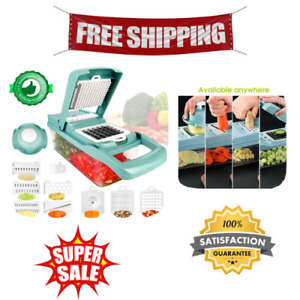 Kitchen Vegetable Chopper, Mandoline Slicer Dicer Grater, Interchangeable Blades