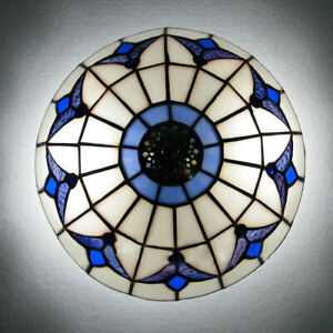 3 Light Bases Modern Stained Glass Semi Flush Mount Ceiling Light Lamp Fixture