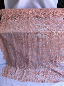 Dusty pink Design Beaded Mesh Lace Fabric Bridal Wedding Sold By Yard clothing