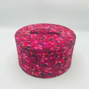 Vintage Sewing Round Box Basket Bag Fabric Covered Sewing Storage Box $32.50