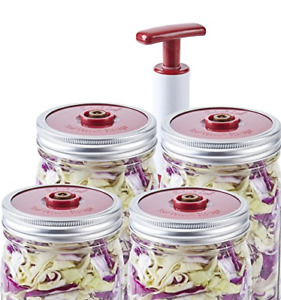 4 Pack of Fermentation Lids with Extractor Pump for Wide Mouth Mason Jar