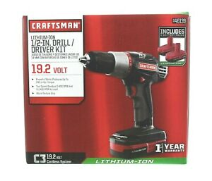 Craftsman 1/2in Drill Driver Kit Compact Lithium-Ion 19.2V Cordless System 46139
