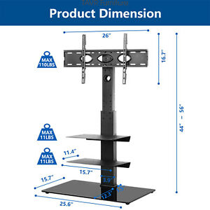Floor TV Stand with Swivel Mount and 3-Tier Shelf for 32-65 inch TVs