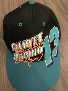 VTG Dan Marino Snap Back Hat Cap Black Bill Elliott Football NASCAR Mens 90s EUC