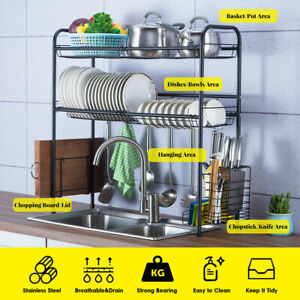 Over The Sink Dish Drying Rack Shelf Stainless Kitchen With Cutlery Holder Large