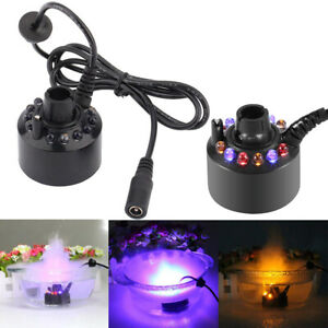 12 LED Colorful Mist Maker Forger Aquarium Rockery Water Fountain Pond Fish Tank