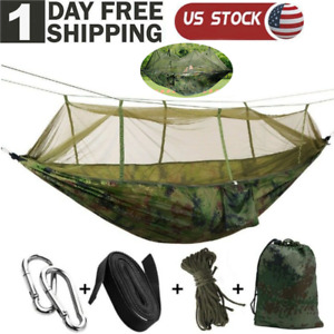 Double Hammock with Mosquito Net Nylon Hanging Bed Swing Chair Outdoor Camping