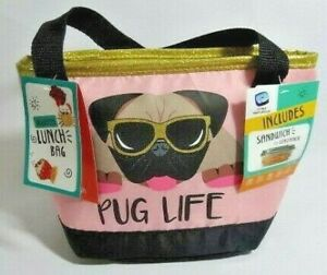 Fit and Fresh Insulated Pink Lunch Bag PUG LIFE Tote Container Ice Pack Dog NEW