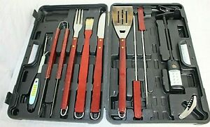 10PCS BBQ Grill Accessories Tools Set Kit Stainless Steel Wooden Handles Utensil
