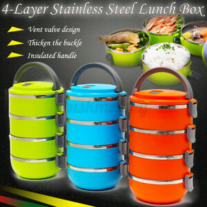 4Layer Stainless Steel Portable Insulated Lunch Box Bento Food Storage