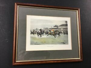 """Vintage George Wright """"A Close Finish"""" Hand Colored Lithograph $69.00"""