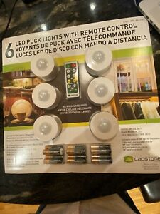 NEW Capstone 6 Bright LED Wireless Puck Lights, Remote Control White Batteries