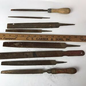 LOT of 8 Vintage Hand Files - Disston, Black Diamond Flat Bastard, K