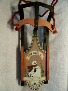 Hand Made 18 Inch Hand Painted Wooden Christmas Sled.Solid Metal.