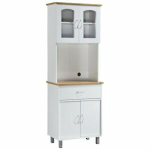 White Tall Kitchen Microwave Stand Utility Cabinet Storage Shelves Cupboard Door