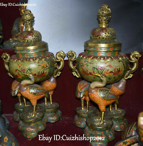 29 Old Cloisonne Enamel Gilt Dragon Cranes Flower Incense Burner Censer Pair