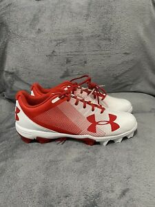 Under Armour Mens Mid Baseball Shoes Red And White Lace 12 New $30.00