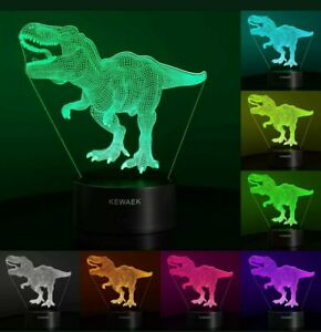 Kewaek 3D Dinosaur Color Changing Night Lamp w Remote and Dinosaur Stickers L5 $15.99