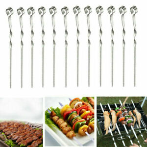 10Pcs Metal Skewers BBQ Barbecue Barbecuing Grill Grilling Cooking Kebab