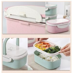 Microwave Lunch Box Wheat Straw Food Storage Container Kids Portable Bento Box