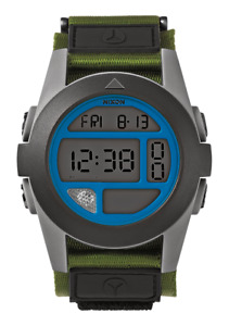 Nixon Baja Surplus Gray Blue A4891376 Digital 50MM Army Nylon Strap Sport Watch