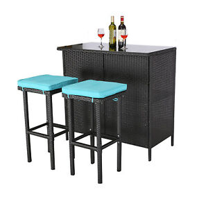 HTTH 3 Pieces Patio Dining Set Outdoor Bar Table and Bar Stools with Cushions