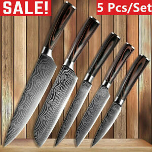 5 Pcs Kitchen Cook Knives Set Japanese Damascus Style Stainless Steel Chef Knife