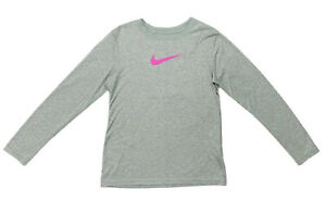 Nike DRI FIT Big Girls Heather Gray Lavender Swoosh Long Sleeve Shirt Size L EUC $6.99