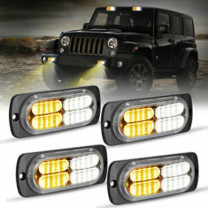 4Pcs Amber 20 LED Car Truck Emergency Beacon Warning Hazard Flash Strobe Light