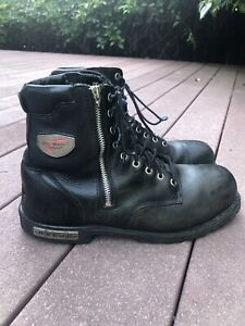 Red Wing Motorcycle 967 Steel Toe Zip Black Leather Redwing Boots Mens Sz 11