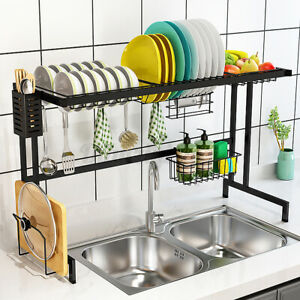 85CM Over The Sink Dish Drying Rack Stainless Steel Kitchen Drainer Shelf Holder