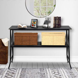 Modern 2 Layer Console Table Iron Base Storage Shelf In Out Door Furniture Black